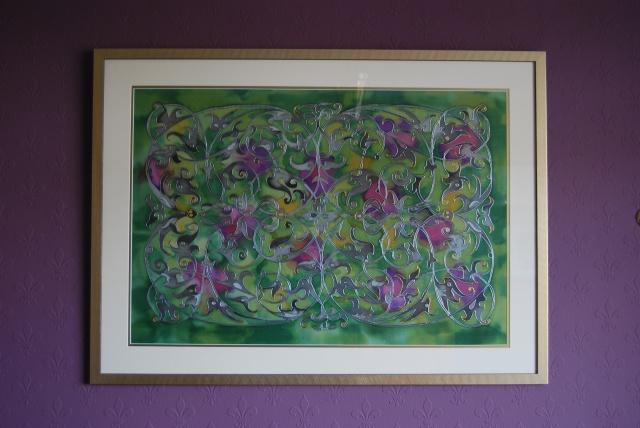 Silk Painting 'Through the Park Gates'