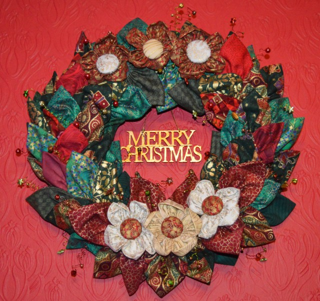 A fabric Christmas Wreath