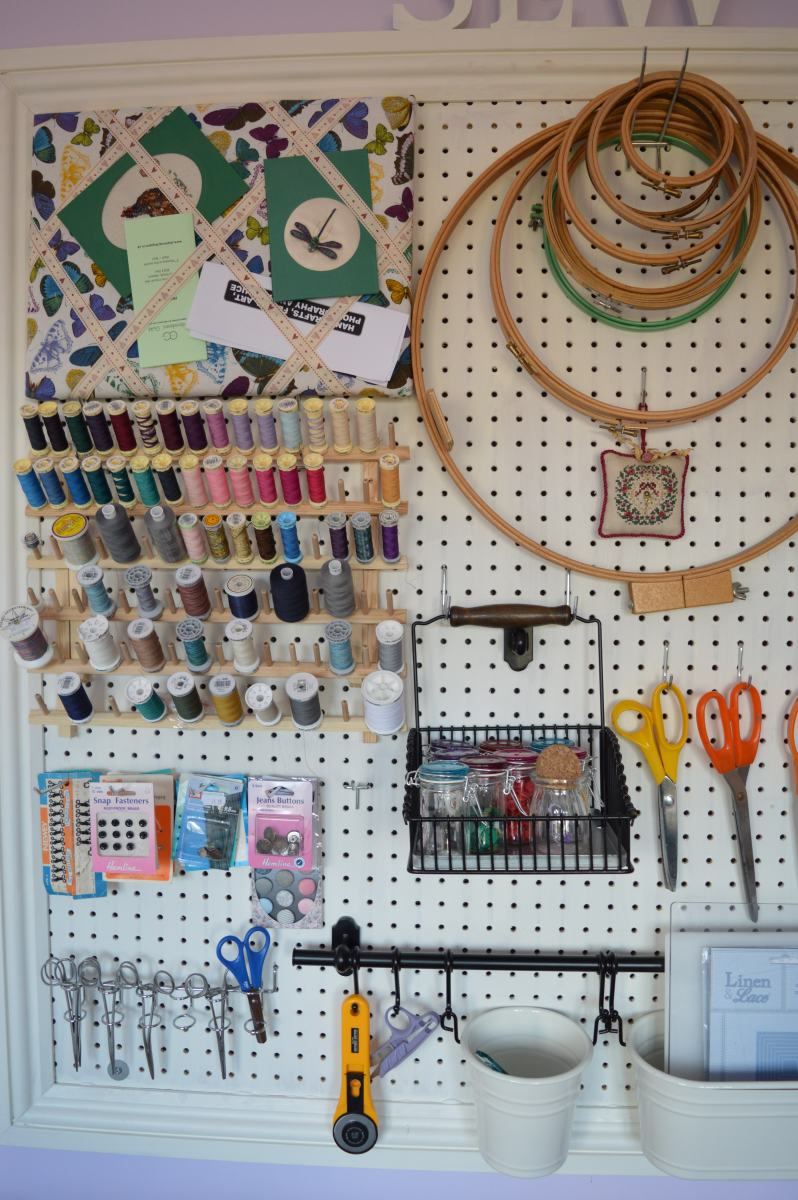Sewing room pegboard thecraftycreek - Craft room ideas for small spaces concept ...