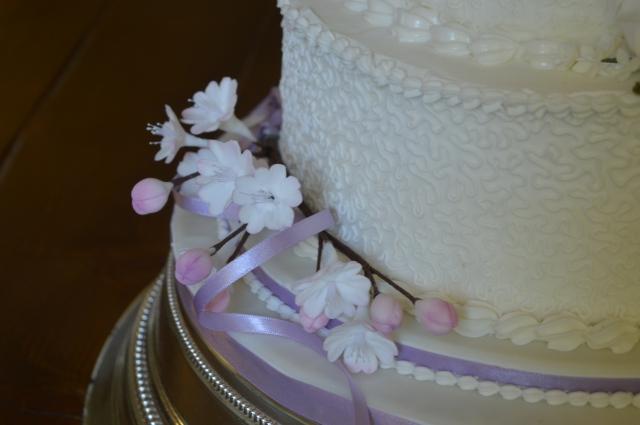 Cherry blossom on Wedding Cake