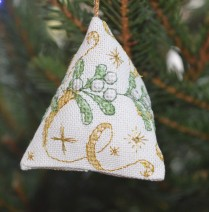 Mistletoe Humbug, gorgeous cross-stitch Christmas decoration.