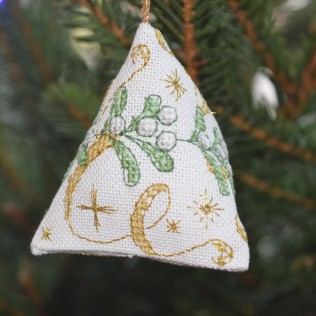 Mistletoe Humbug, gorgeous cross-stitch Christmas decoration.