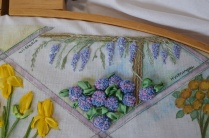 Silk Ribbon and stumpwork embroidery