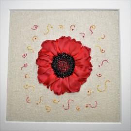 Silk Ribbon Poppy