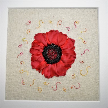 Silk Ribbon Poppy