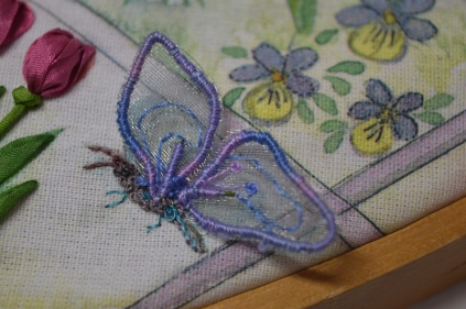 Stumpwork and silk ribbon embroidery