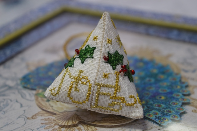 Holly Humbug gorgeous cross-stitch decoration