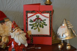 Mistletoe Christmas Card in cross-stitch