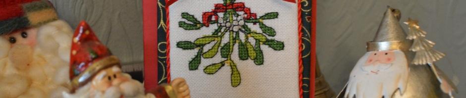 Mistletoe Christmas Card in cross-stitch