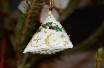 Holly Humbug gorgeous cross-stitch decoration