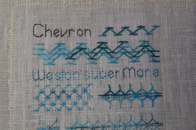 TAST stitch sampler, Chevron Stitch