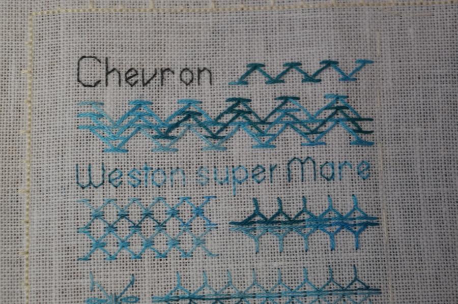 TAST stitch sampler, Chevron Stitch