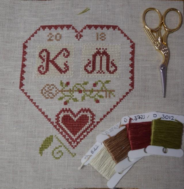 SubRosa cross-stitch heart.