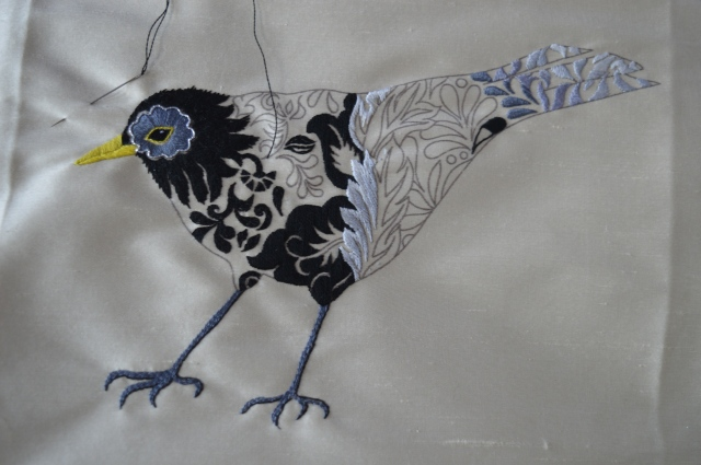 Blackbird Embroidery by Nicola Jarvis