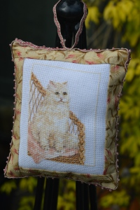 Needlepoint cat pillow
