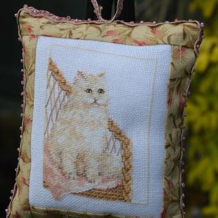 Needlepoint cat pillow