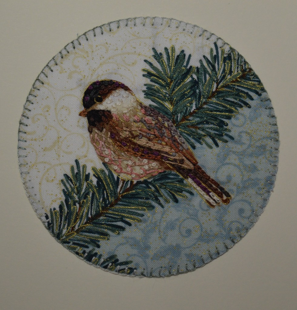 Chickadee embroidery